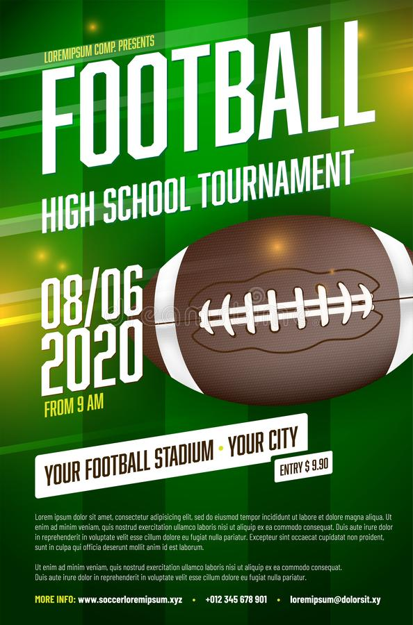 American football tournament poster template with ball and grass stock illustration