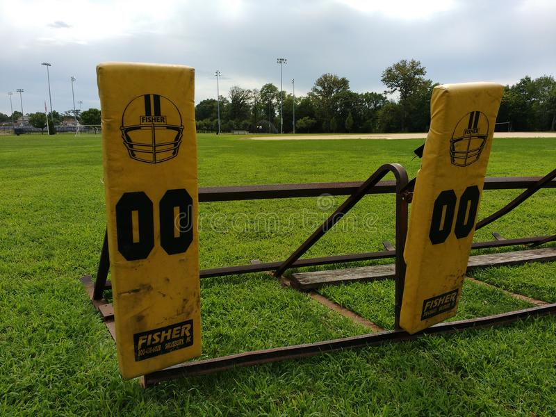American Football, Training, Blocking Sled, Team Practice royalty free stock photography