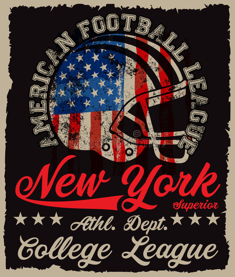 American football Vintage vector print for boy sportswear royalty free illustration