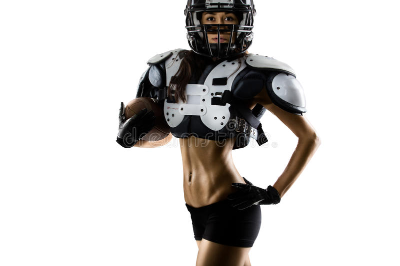 American football woman player in action royalty free stock photography