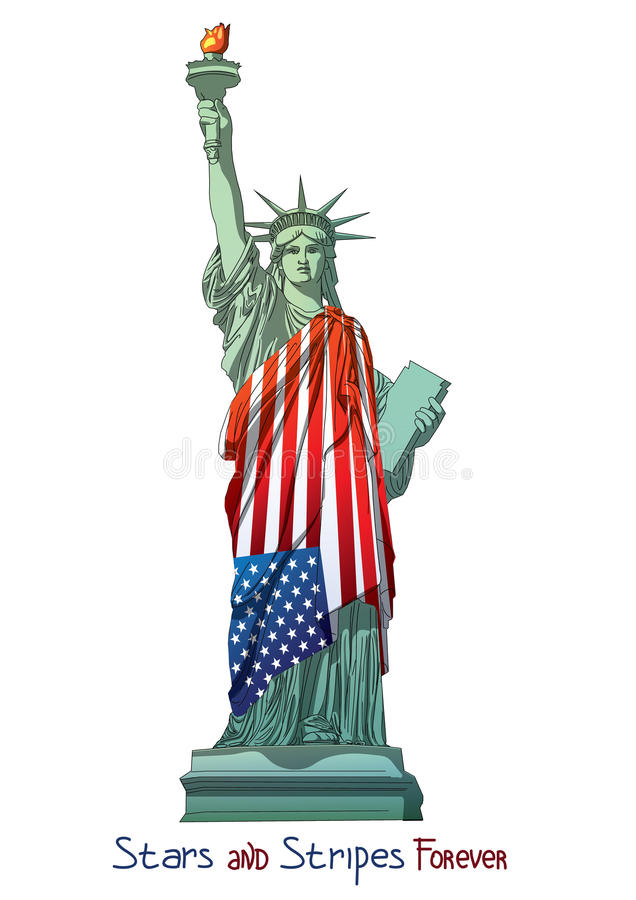 American fourth july flags vector eps ai jpg Freedom statue liberty 4th Julys Stars and stripes stock illustration