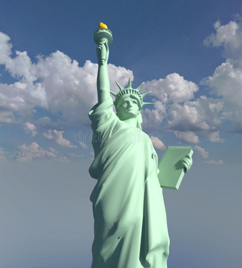 USA Statue of Liberty illustration 3D render royalty free stock photography
