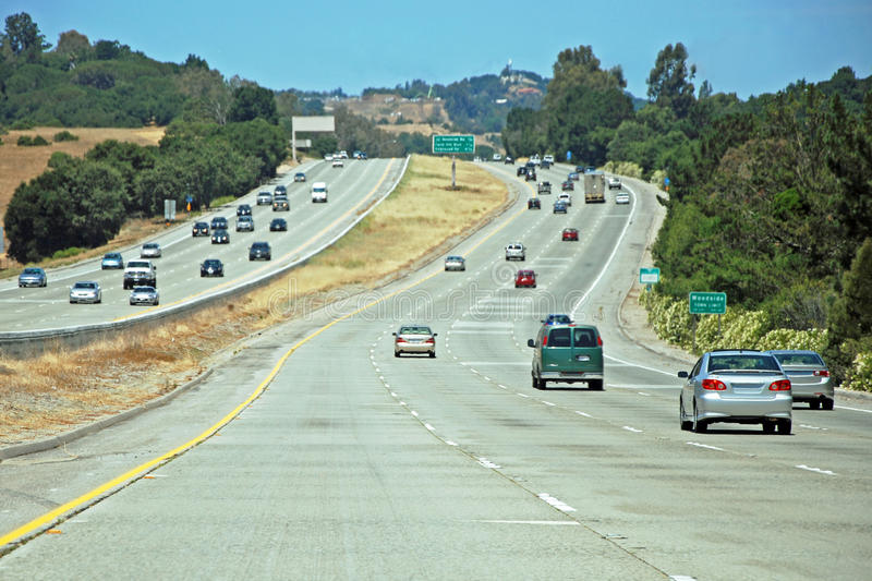 American freeway with a cars royalty free stock photo