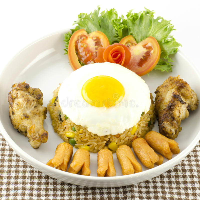 American fried rice isolated on white royalty free stock photos