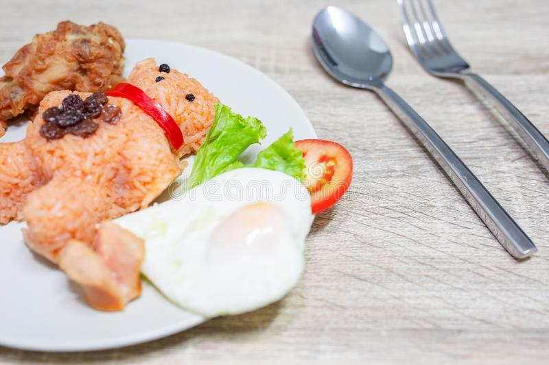 American fried rice style breakfast set royalty free stock photography