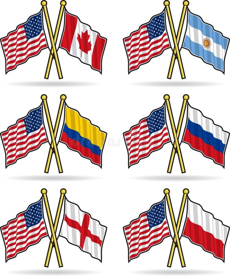 American Friendship Flags stock illustration