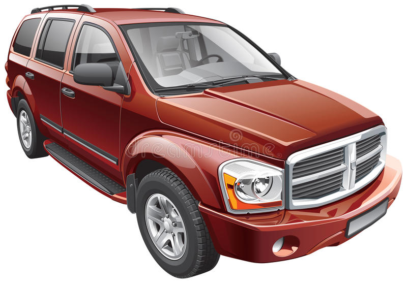 American full-size SUV. Detail vector image of American full-size sport utility vehicle, isolated on white background. File contains gradients and transparency royalty free illustration
