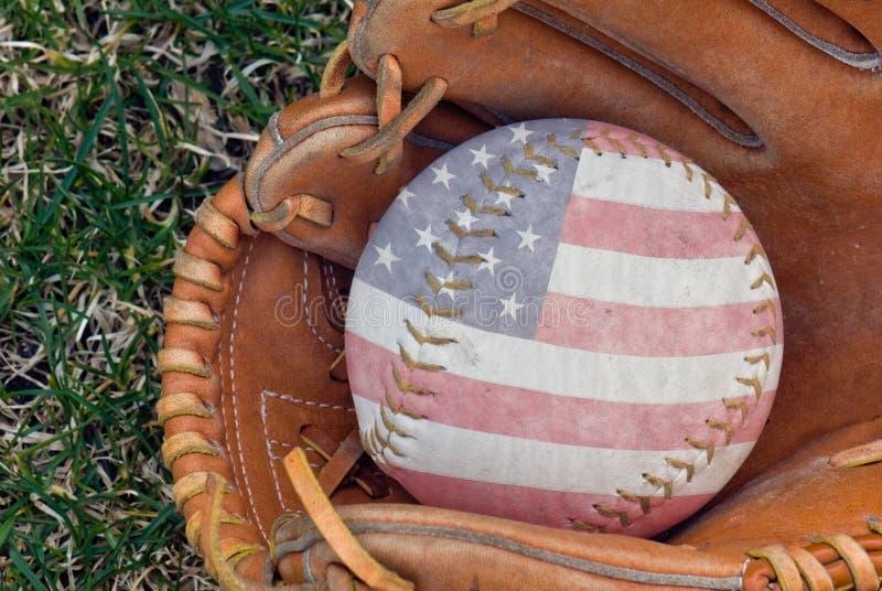 American flag design on softball stock photos