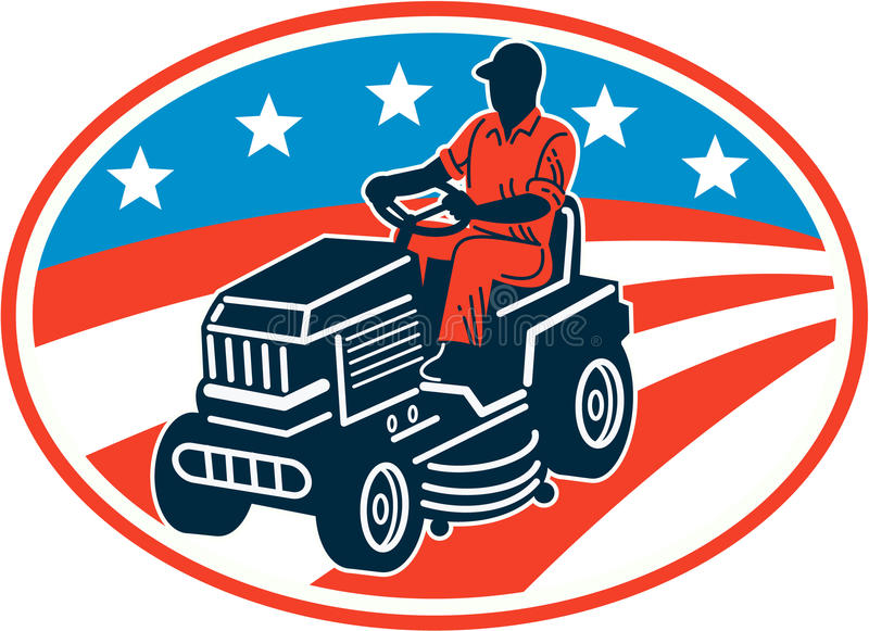 American Gardener Mowing Lawn Mower Retro. Illustration of American male gardener mowing riding on ride-on lawn mower with stars and stripes flag set inside oval royalty free illustration