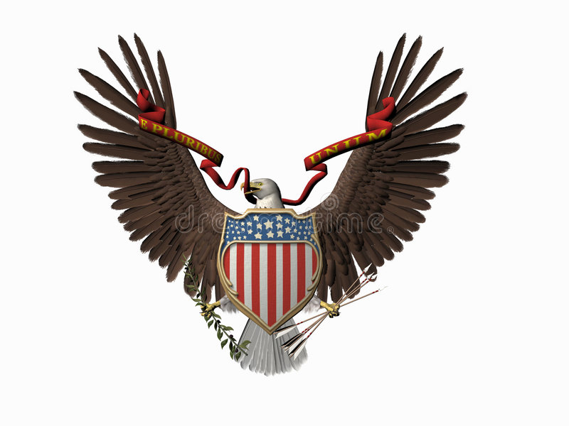American great seal, E pluribus unum. stock illustration