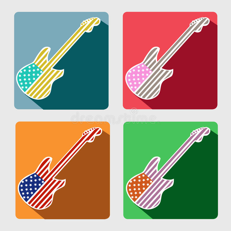 American Guitar flat icons with long shadow vector illustration