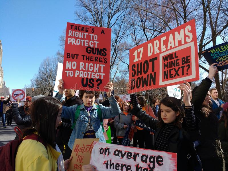 American Gun Violence, March for Our Lives, School Shootings, NYC, NY, USA. Young demonstrators during the March for Our Lives in New York City. This photo was royalty free stock photo