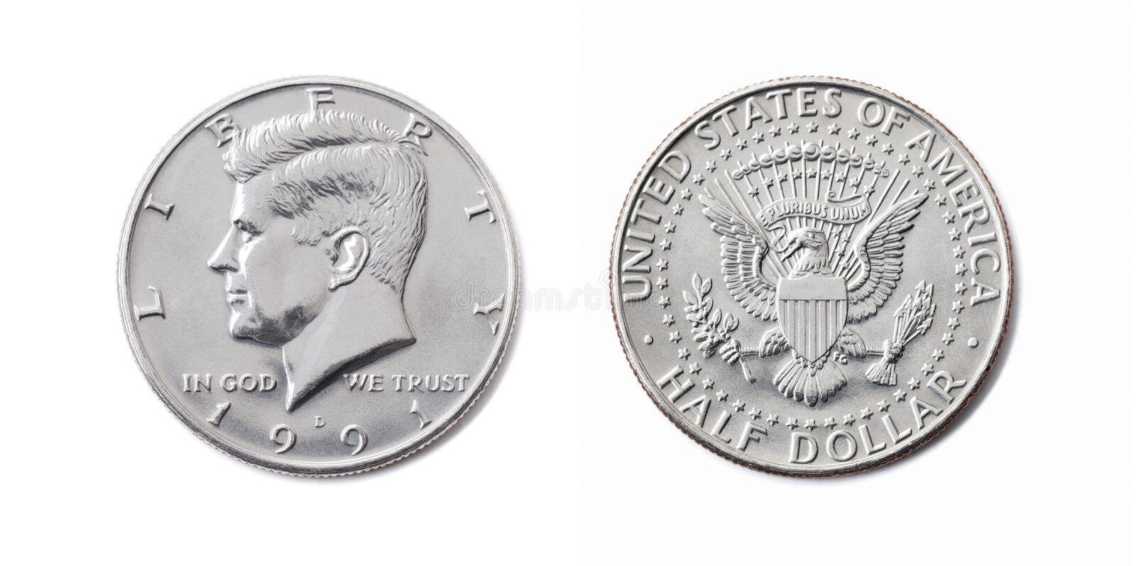 american half dollar coin, Fifty cent, 50 c, USA 1/2 dollar isolate on white background. John F Kennedy on silver coin realistic royalty free stock photography