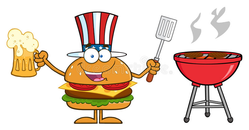 American Hamburger Cartoon Character. Holding A Beer And Bbq Slotted Spatula By A Grill. Illustration Isolated On White vector illustration