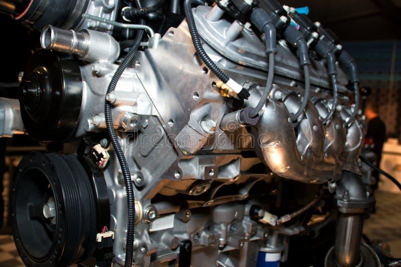 American high performance automobile engine. Super horsepower American automobile engine stock photo