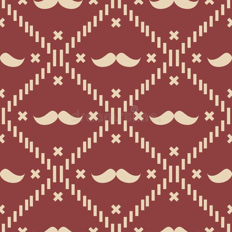 American Hipster Mustache Tartan Plaid and Argyle Vector Patterns in Patriotic Red, White and Blue. 4th of July or Father`s Day royalty free illustration