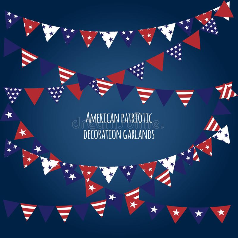 American holiday flags garlands set. Indepence Day, President`s Day, Labor Day, Patriot Day decoration elements. royalty free illustration