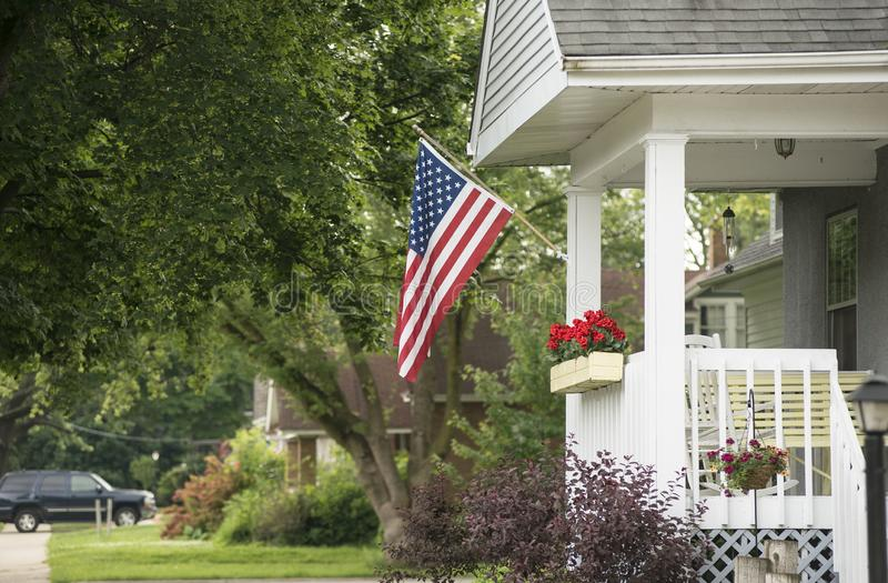 An American Home. Proudly displaying their flag royalty free stock photo