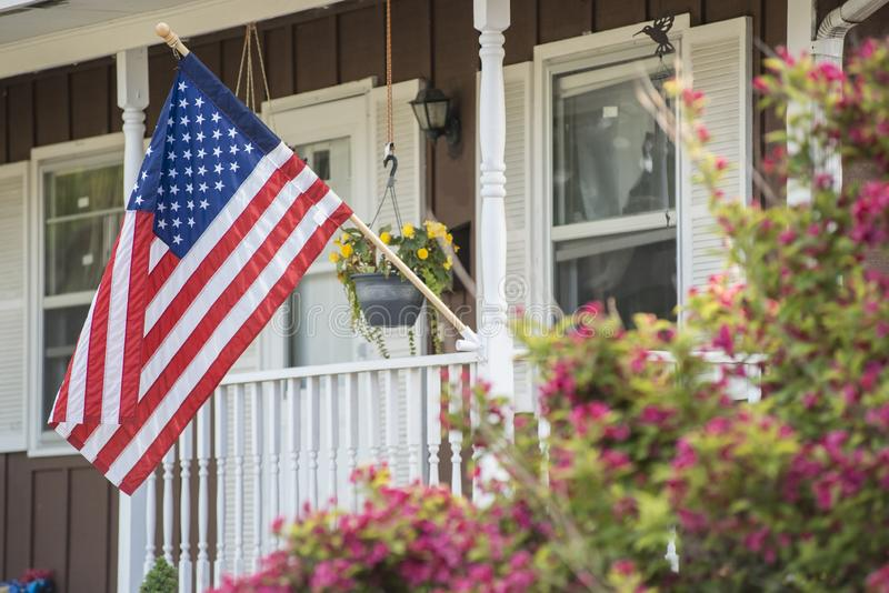 An American Home. Proudly displaying their flag royalty free stock photography