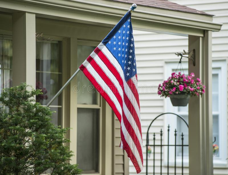 An American Home. Proudly displaying their flag royalty free stock images