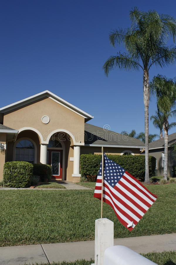 American Home with us flag royalty free stock photo