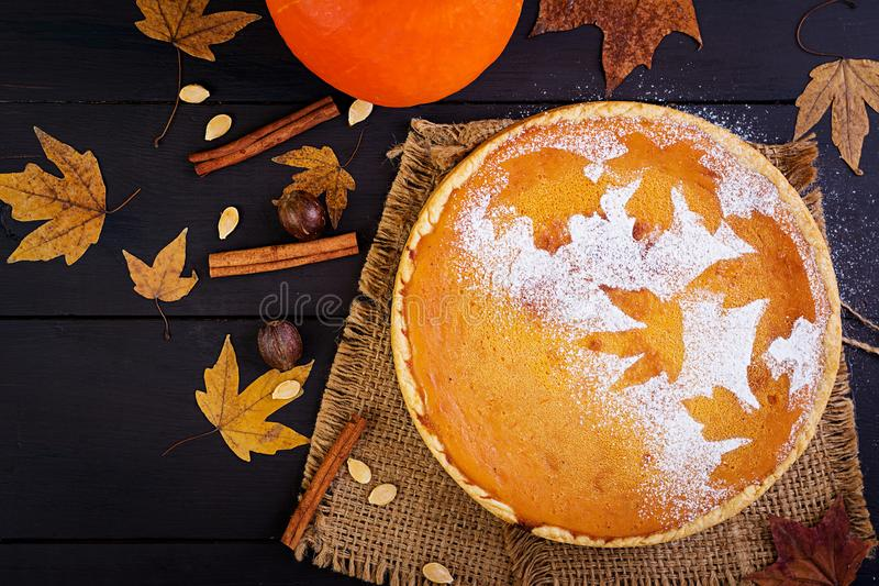 American homemade pumpkin pie royalty free stock photo