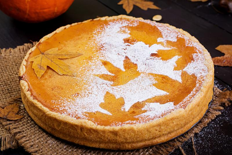 American homemade pumpkin pie with cinnamon and nutmeg royalty free stock photos