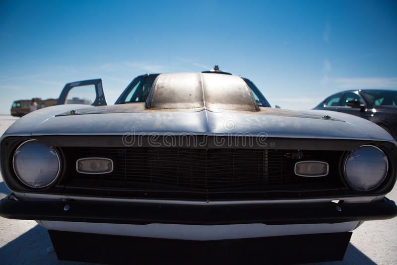 American Hot Rod painted in black during the World of Speed royalty free stock photos