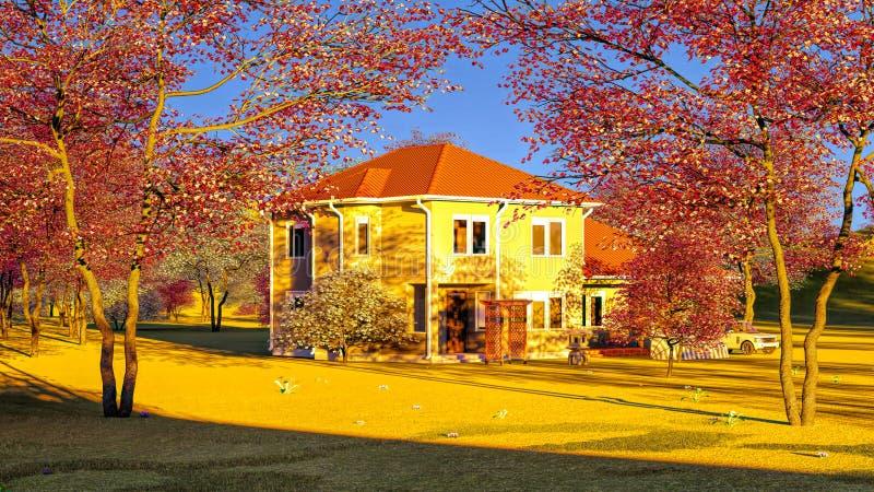 American house in rural settings 3d rendering royalty free illustration