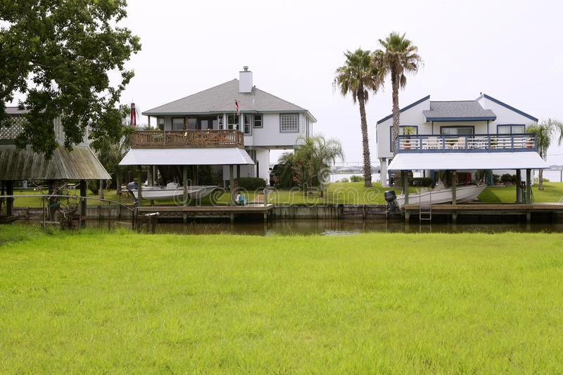 Download American Houses In South Texas River Boats Royalty Free Stock Image - Image: 12868346