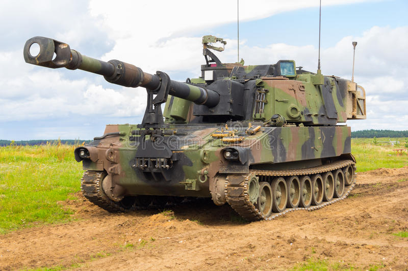 American howitzer stands on a battlefield. An american howitzer stands on a battlefield royalty free stock photography