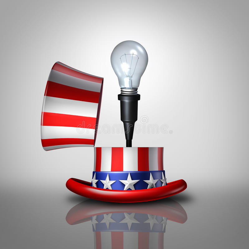 American Idea. Concept as an open United States flag hat with a lightbulb emerging out as a national symbol for invention and creative ideas or election vector illustration