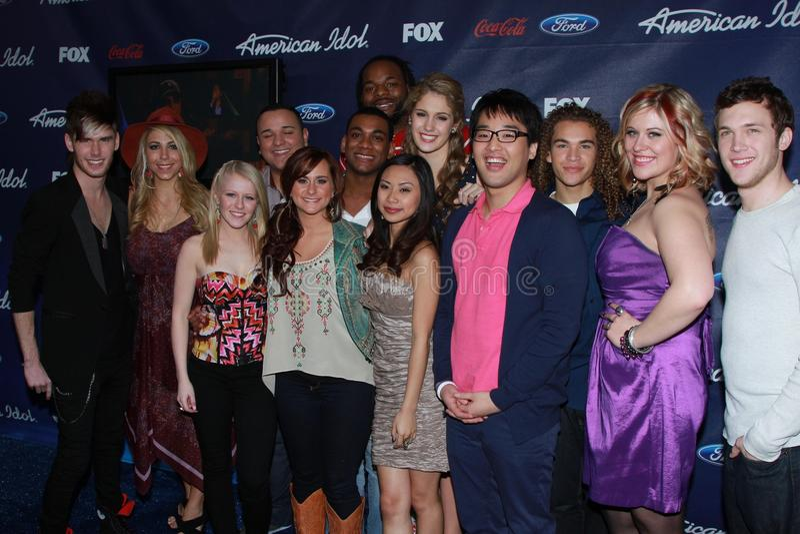 American Idol Season 11 Top 13 Finalists at the American Idol Season 11 Finalists Party, The Grove, Los Angeles, CA 03-01-12 royalty free stock photography