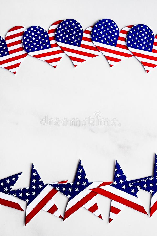 American Independence day background with blue, white and red mixed stars and hearts. Celebration of American independence day, th stock image