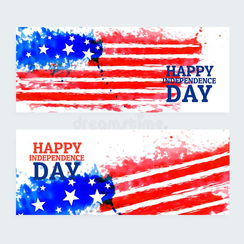 American independence day banners with watercolor flag vector illustration