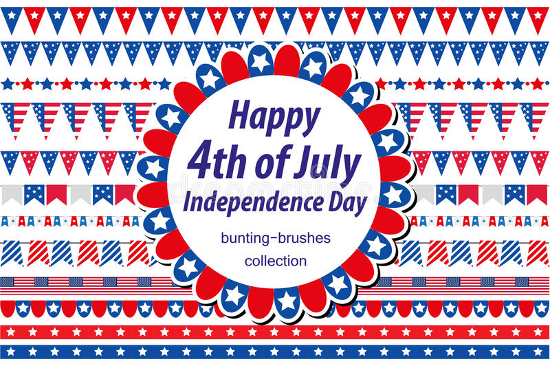 American Independence Day, celebration in USA. Set borders, bunting, flags, garland. Collection of decorative elements vector illustration