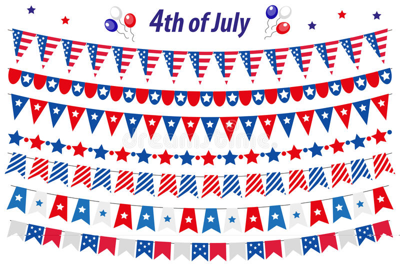 American Independence Day, celebration in USA, set bunting, flags, garland. Collection of decorative elements for July. 4th national holiday. Vector vector illustration