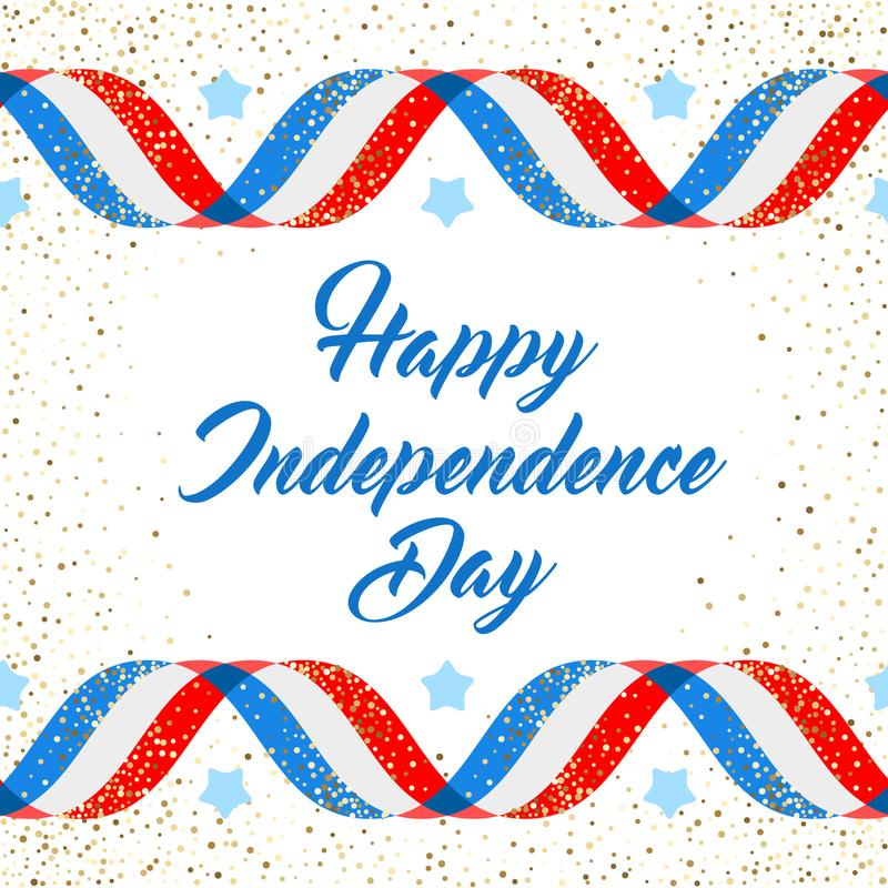 American Independence day poster template, 4th July background. Ribbon flags and glitter vector illustration