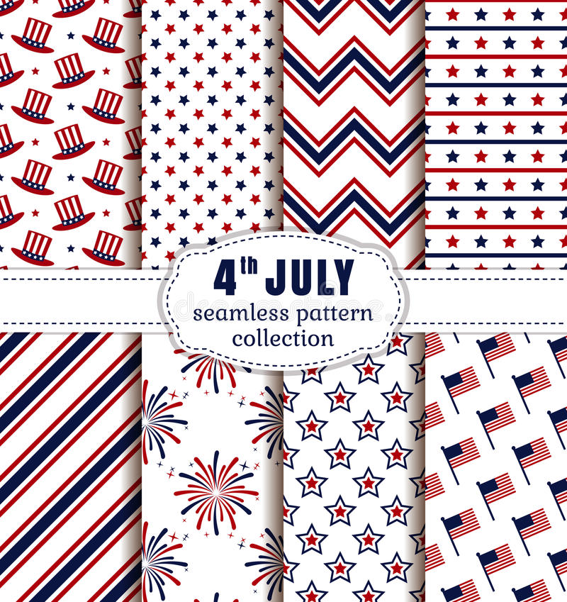 American Independence Day. Seamless patterns set. Happy Independence Day! 4th of July. Set of American backgrounds. Collection of seamless patterns in vector illustration