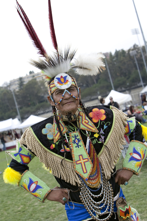 American Indian Elder at UCLA Pow Wow stock image