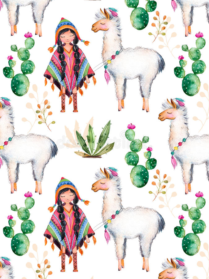 American Indian girl in traditional poncho and lama. royalty free illustration