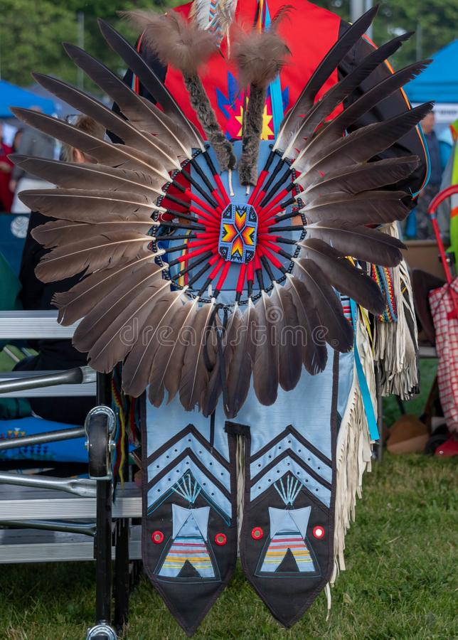 American Indian headdress at Pow Wow royalty free stock photography