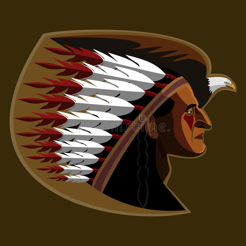 American indian. Illustration of american indian with eagle vector illustration