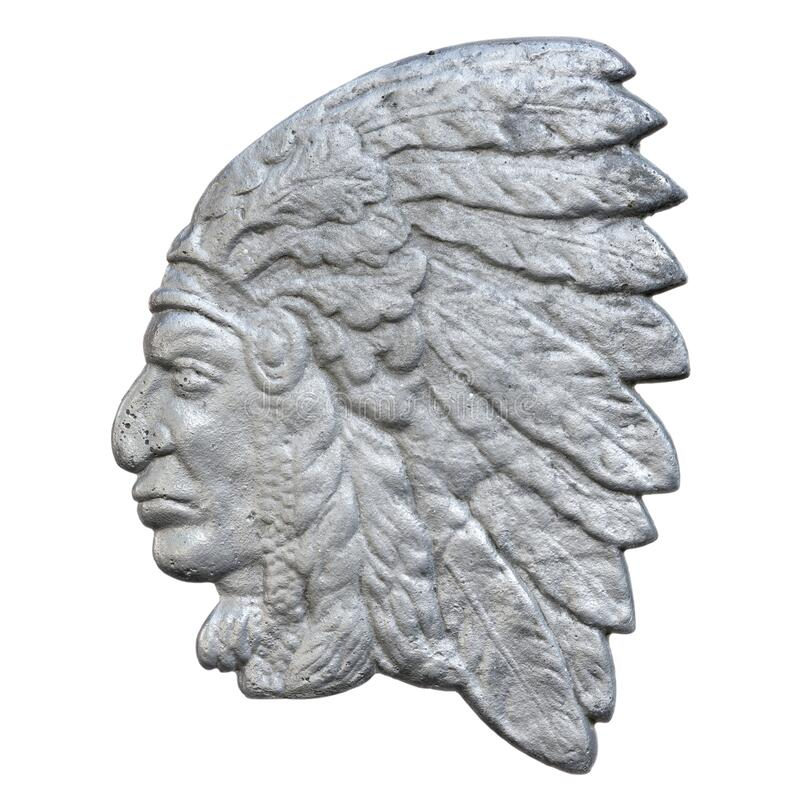 American Indian side-view head portrait royalty free stock image