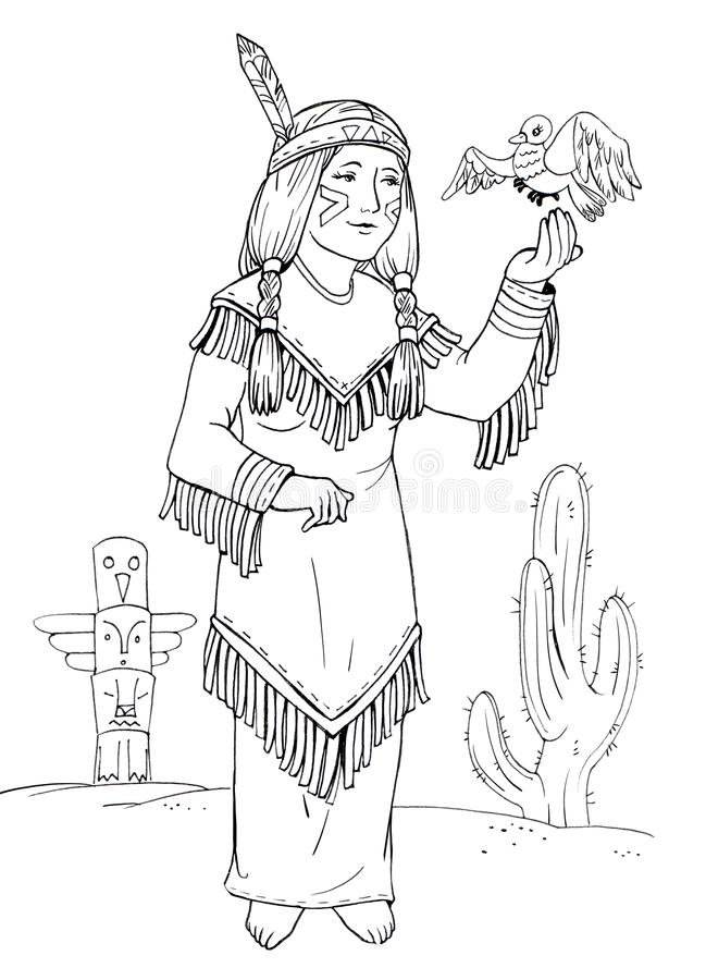 Download American Indian Princess Coloring Stock Illustration