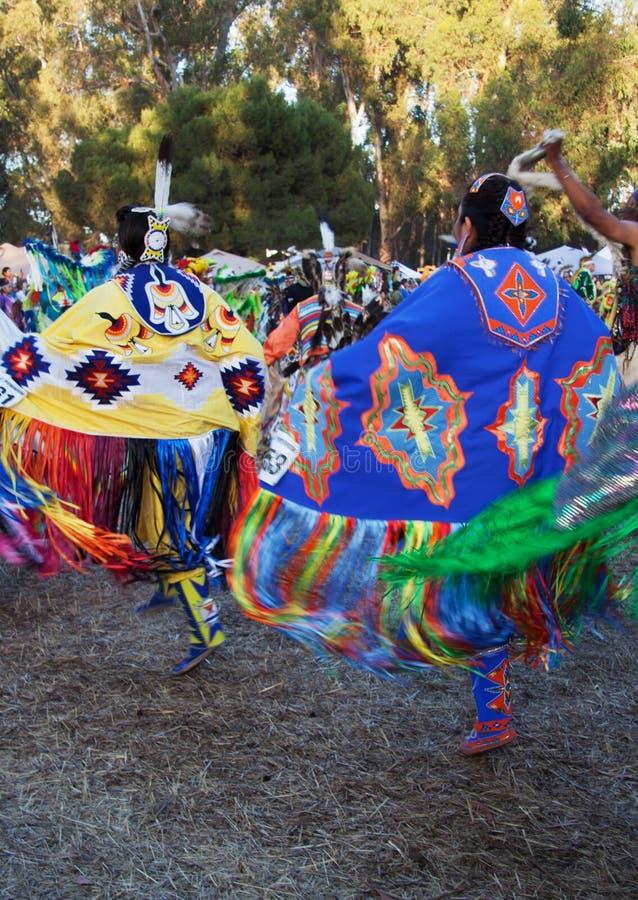 American Indian women dancers at Stanford PowWow royalty free stock image