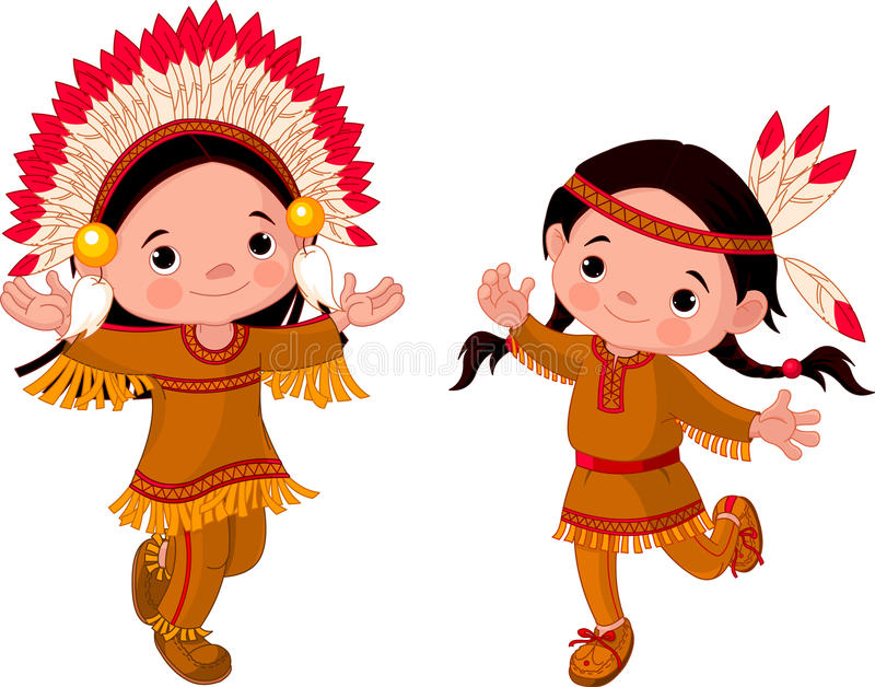American Indians dancing royalty free illustration