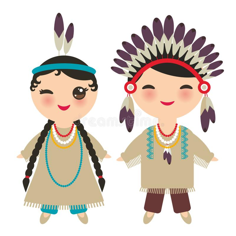 American indians Kawaii boy and girl in national costume. Cartoon children in traditional dress Indigenous peoples of the Americas vector illustration