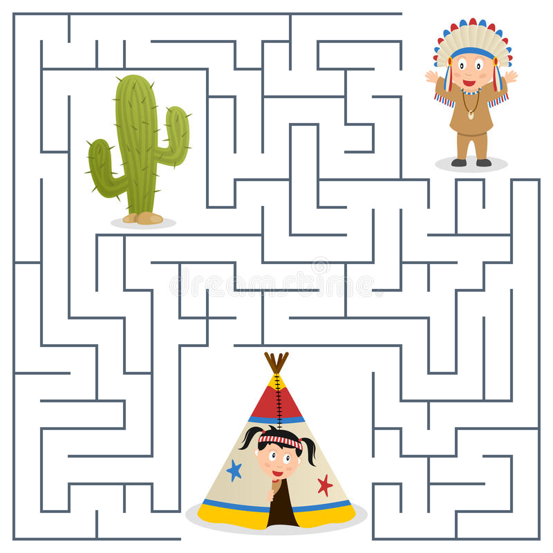 American Indians Maze for Kids. American indians or natives maze game for children. Help the Indian chief find the way to return to the camp. Eps file available