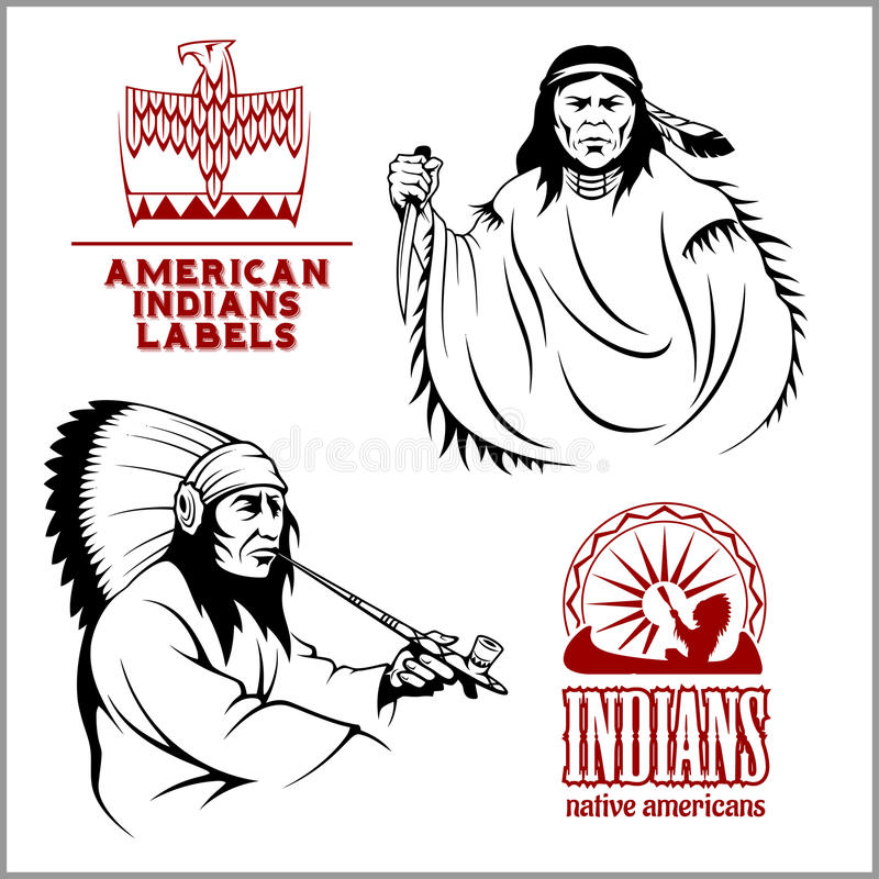 American indians set of vintage emblems, labels and logos in monochrome style. American indians set of four vintage emblems, labels and logos in monochrome style royalty free illustration